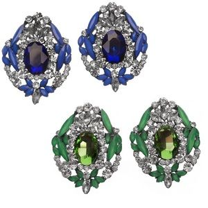 Blue and Green Statement Crystal Earrings